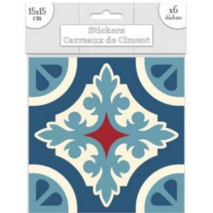 Lot de 6 Stickers Carreaux de Ciment – Bleu Motif C
