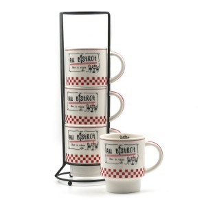 Mugs sur Colonne Collection Au Bistrot - Fond Blanc
