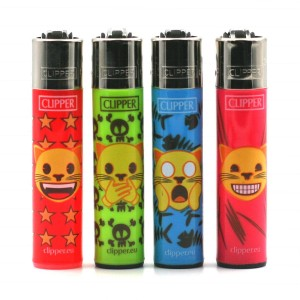 Lot de 4 Briquets Clipper – Emoji Cat
