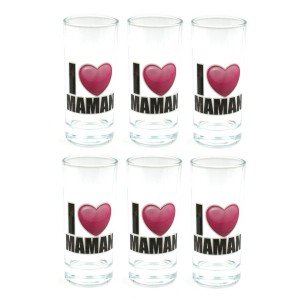 Lot de six Verre - I love Maman