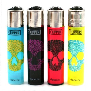 Lot de 4 Briquets Clipper – Skulls Flash