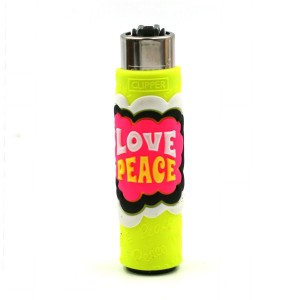 Clipper Etui Pop Cover – Hippie Love Peace Jaune
