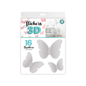 Stickers 3D Papillons – Couleur Gris