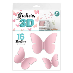 Stickers 3D Papillons – Couleur Rose