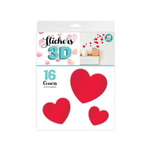 Stickers 3D Coeur – Couleur Rouge