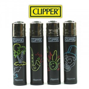 Lot de 4 Briquets Clipper - Fluo Jazz