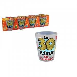 Pack 4 Verres Shooters  30 Ans