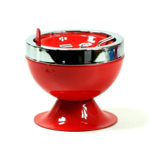 Mini Cendrier Poussoir - Design Rouge