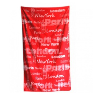 Drap de plage Londres Paris New York 100 x 170 cm