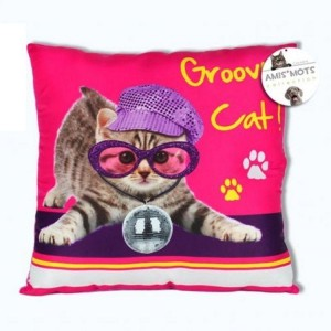 Coussin Groovy Cat - Amis Mots