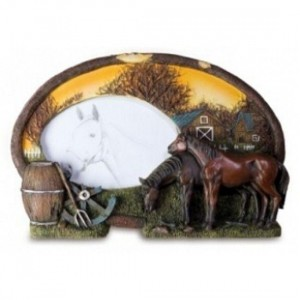 Cadre Photo Oval Chevaux