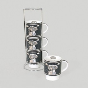 Set de 4 mugs sur colonne Umbrella
