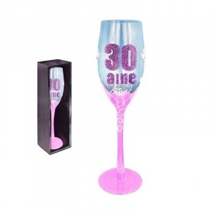 Flute Champagne rose  Anniversaire 30 Ans