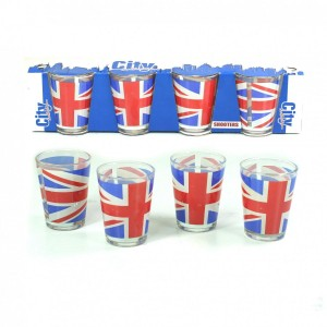 Pack 4 Verres Shooters UNION JACK