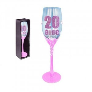 Flute Champagne rose  Anniversaire 20 Ans