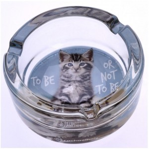 Cendrier Rond en Verre - To Be or Not To Be