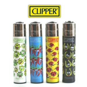 Lot de 4 Briquets Clipper - Porte-Chance (Fer à chevaux, trèfle, etc )
