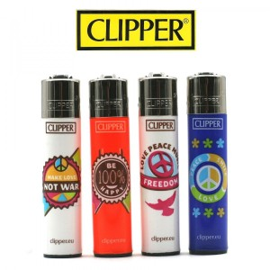 Lot de 4 Briquets Clipper - Hippie Colors