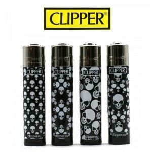 Lot de 4 Briquets Clipper - Skull Pattern