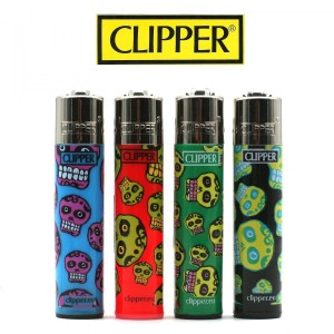 Lot de 4 Briquets Clipper - Fluo Skulls