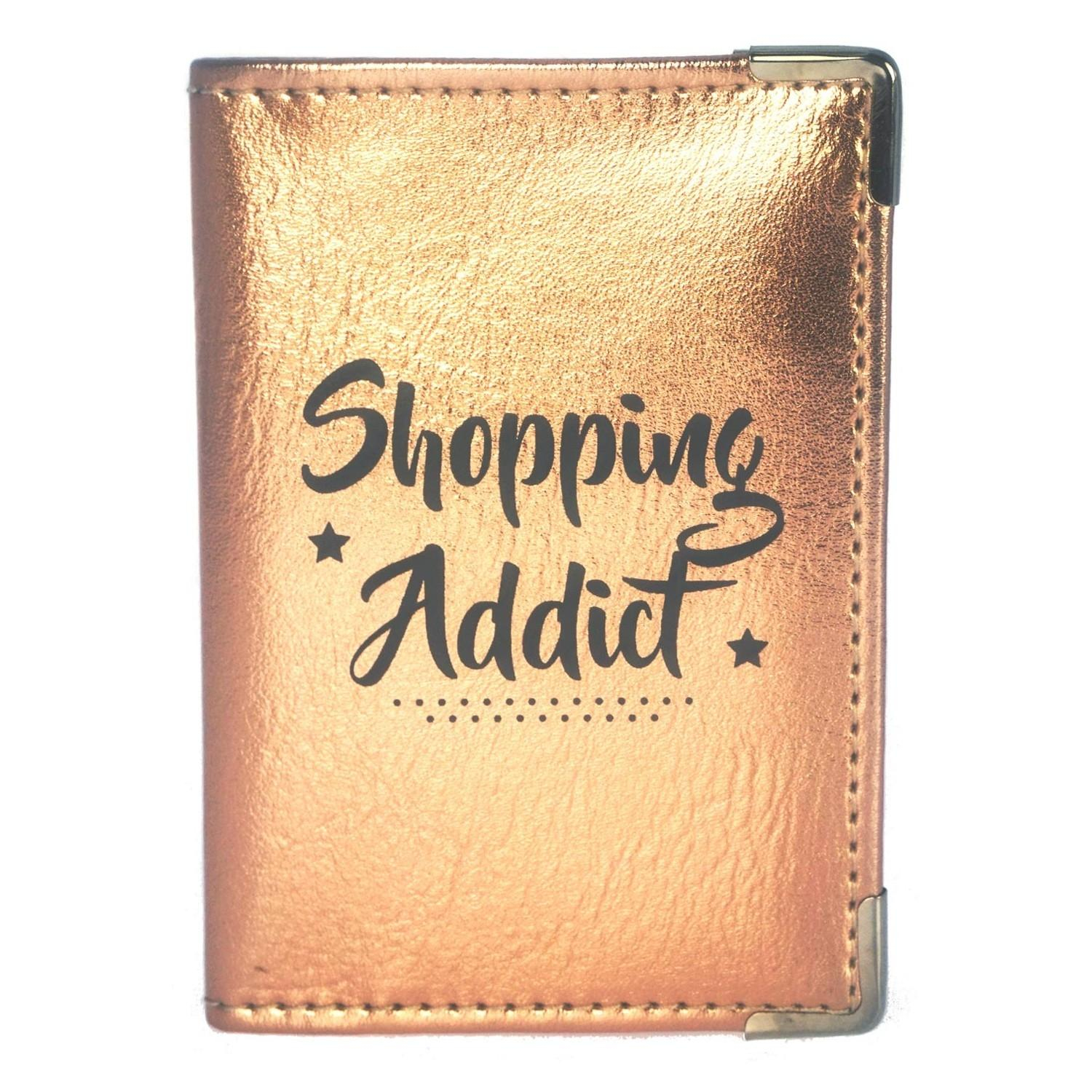 Etui Porte-Cartes Texte - Shopping Addict
